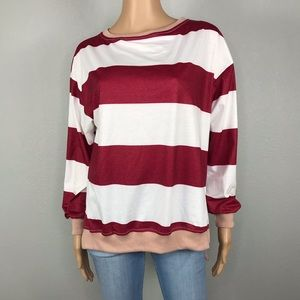 Simple soft striped pullover